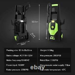 Electric Pressure Washer 3500PSI Water High Power Jet Wash Patio Car Green