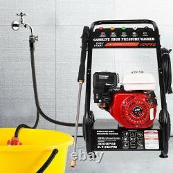 Gasoline Petrol Pressure Washer 3000PSI 7HP Garden Patio High Power Cleaner Jet