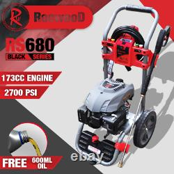 Petrol Pressure Washer RocwooD 2700PSI 173cc Jet High Power Plus Free Oil