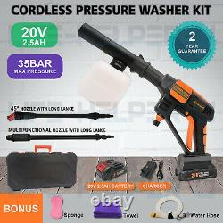 Portable Cordless Pressure Washer Power Water Cleaner Kit 508PSI with 2.5A Battery