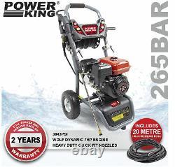 PowerKing Petrol Pressure Washer 3843psi 300 7HP Wolf Engine Power Jet Cleaner