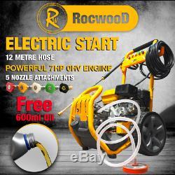 RocwooD ELECTRIC START Petrol Pressure Power Jet Washer 2400 PSI 8HP 12M Hose