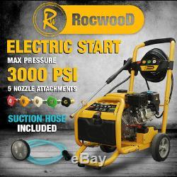 Laveuse À Pression À Essence Rocwood Electric Start Laveuse À Jet De 3000 Psi 8hp