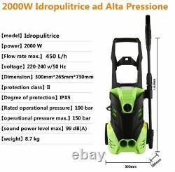 Laveuse À Pression Électrique 3000 Psi Homdox 2000w High Power 150 Bar Jet Cleaner Uk