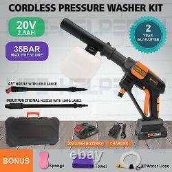 Pression Portable Sans Fil Laveuse Power Nettoyant Eau Kit 508psi Avec Batterie 2.5a