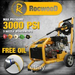 Puissance Pression Rocwood Essence Laveuse Démarrage Électrique 3000 Psi 8hp Jet Laveuse