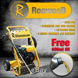 Rocwood 3000 Psi 7hp 10 Litres Pm Essence Haute Pression Laveuse À Jet Haute Pression Huile Gratuite