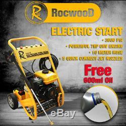 Rocwood 3000 Psi 7hp Démarrage Électrique Essence Power Jet De Laveuse À Pression Sans Huile