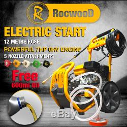Rocwood Démarrage Électrique Pression Essence Power Jet Laveuse 2400 Psi 8hp 12m Tuyau