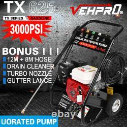 Vehpro Petrol Power Pressure Jet Laveuse 3000psi 7hp Moteur Avec Tuyau G-un